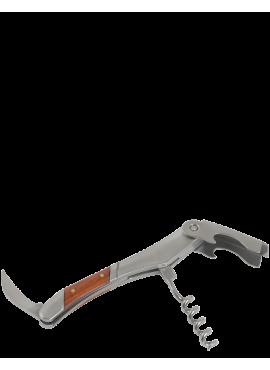 Cavatappi in acciaio con manico in legno