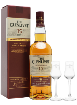 Glenlivet 15 years of age + 2 bicchieri